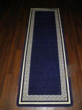 NEW NON SLIP TOP QUALITY RUNNERS 66X185CM APROX 6FTX2FT3 KEY DESIGN BLUE/CREAM